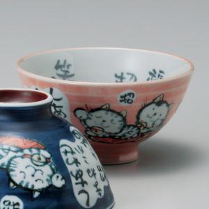 和食器 粉引招き猫赤 ねこ 猫 ネコ キャット ご飯茶碗 飯碗 茶碗 おうち うつわ 陶器 日本製 らいすぼーる 軽井沢 春日井|sara-cera