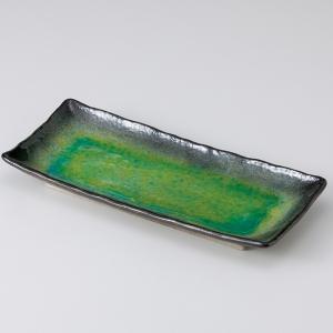和食器 メロンシャーベットのようなイエローグリーン 緑釉 さんま皿 長角皿 トレー おうち カフェ 陶器 前菜 焼き物 おしゃれ うつわ|sara-cera