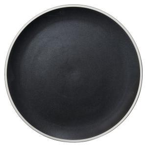 (業務用・丸皿)ルスト 28.5cmフラットプレート ナイトブラック(入数:5) sarara-tt