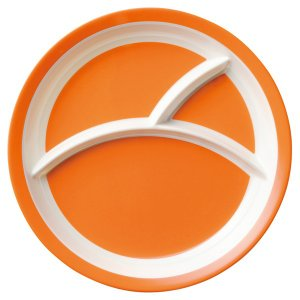 (業務用・ランチプレート)メラミン食器 25.5cm3つ仕切りラウンドプレート オレンジ(入数:5)|sarara-tt