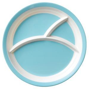 (業務用・ランチプレート)メラミン食器 25.5cm3つ仕切りラウンドプレート ブルー(入数:5)|sarara-tt