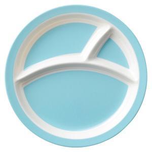 (業務用・ランチプレート)メラミン食器 21cm3つ仕切りラウンドプレート ブルー(入数:5)|sarara-tt