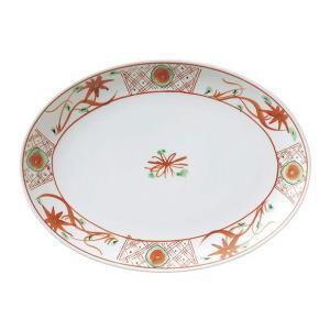 (業務用・楕円皿)手描華紋12吋プラター(入数:5)
