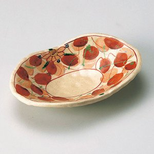 (業務用・楕円皿)赤絵木の葉双子皿[27803-147](入数:5)