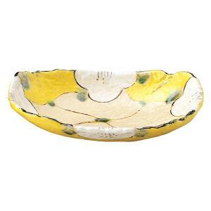 (業務用・楕円皿)上絵山茶花(黄) 楕円深皿(黄)[52812-577](入数:5)