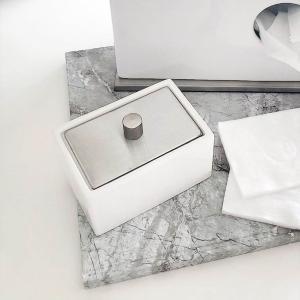 綿棒 コットン ケース 洗面所 収納 白 陶器 ホテル[b2c セラミック コットンボックス ロウ]|sarasa-designstore