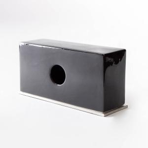 ティッシュボックス モノトーン 陶器 ホテル[b2c セラミック ティッシュスタンド(ブラック)]