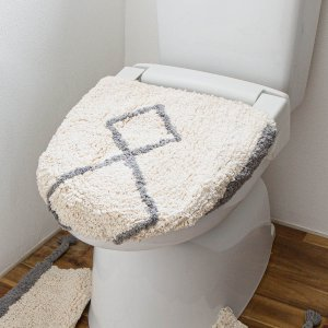 トイレ蓋カバー 洗浄暖房[b2c ダイヤ トイレフタカバー|オーガニックコットン]|sarasa-designstore