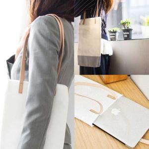 キャンバス地 薄手 ヌメ革 サブバッグ エコバッグ コットンバッグ 縦 [b2c リルティングキャンバス トート スレンダー]|sarasa-designstore