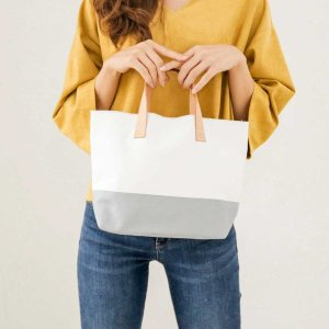 キャンバス 薄手 ヌメ革 サブバッグ エコバッグ[b2c リルティングバック ミニトートバック]|sarasa-designstore
