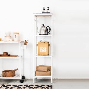洗濯ラック ランドリー 収納 棚 木製 ナチュラル[nsp スリムラック(オーク突板) ]|sarasa-designstore