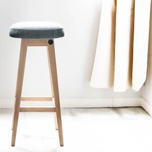 木製 ウッド チェア 玄関[b2c シンプルラウンドスツール ハイ(ファブリック モスグリーン)]|sarasa-designstore