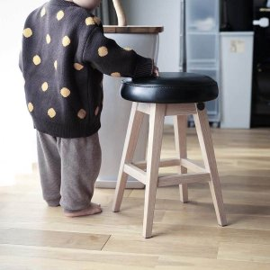 木製 ウッド チェア 玄関[b2c シンプルラウンドスツール ロー(オイルドレザー/ブラック)]|sarasa-designstore