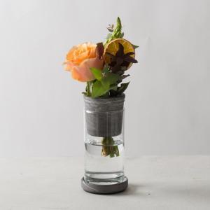 モダン ガラス クリア 透明[TARN S フラワーベース セメント&グラス サイズ S(マーブルグレー)]|sarasa-designstore