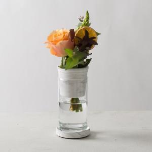モダン ガラス ギフト プレゼント[TARN S フラワーベース セメント&グラス サイズ S(マーブルホワイト)]|sarasa-designstore