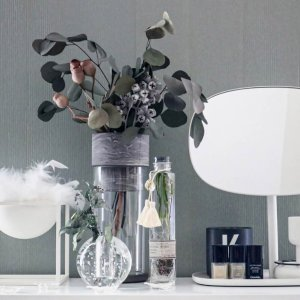 モダン ガラス クリア 透明[TARN M フラワーベース セメント&グラス サイズ M(マーブルグレー)]|sarasa-designstore