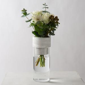 モダン ガラス ギフト プレゼント[TARN M フラワーベース セメント&グラス サイズ M(マーブルホワイト)]|sarasa-designstore