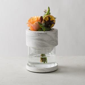 モダン ガラス ギフト プレゼント[TARN L フラワーベース セメント&グラス サイズ L(マーブルホワイト)]|sarasa-designstore