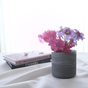 瓶 フラワーベース セメント [TUNN-C プランター セメント サイズ S ロー(マーブルグレー)]|sarasa-designstore