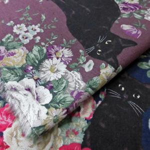 綿麻混キャンバス生地(2021)黒猫&薔薇柄プリント 生地巾110cm   数量1(50cm)295円  国産(プライス商品) sarasa-nuno