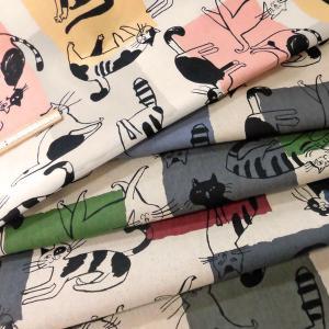 綿麻混キャンバス生地(AP11702-1)ネコ柄 生地巾110cm   数量1(50cm)475円  国産 sarasa-nuno