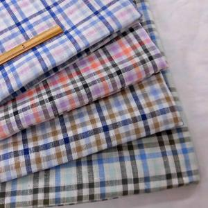リネン100%先染チェック柄生地(21004)チェック柄(約5mmサイズ)  生地巾140cm 数量1(50cm)500円 国産 sarasa-nuno