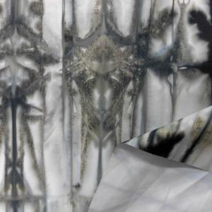 ゴム引防水生地(YBS385)白グレーx黒ネイビー 生地巾145cm  数量1(50cm)190円  国産|sarasa-nuno
