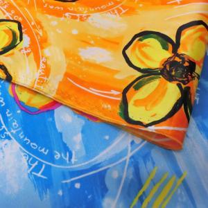 両面撥水サテン生地(YBS386)サニーフラワー柄 生地巾125cm  数量1(50cm)190円  国産|sarasa-nuno