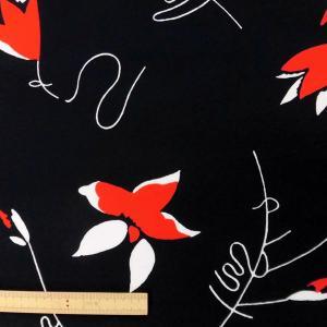 ポリエステル合繊生地(D95-A) 花柄/黒 110cm巾 数量1(50cm)250円 国産|sarasa-nuno
