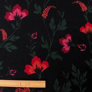 ポリエステル合繊生地(8185) 花柄/黒(薄目) 110cm巾 数量1(50cm)250円 国産|sarasa-nuno