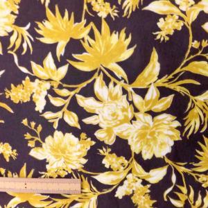ポリエステルジョーゼット生地(72395)花柄/ブラウンxイエロー 110cm巾 数量1(50cm)250円 国産|sarasa-nuno