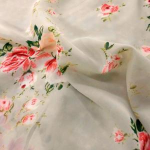 ポリエステルジョーゼット生地(YEX238) 花柄/グレージュ系 数量1(50cm)150円 国産(多少難有/耳端の為割引価格です)|sarasa-nuno