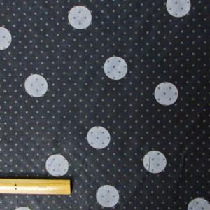 綿ポリエステル混合繊生地(YEX254)ローン調/ドット柄黒グレー 生地巾110cm 数量1(50cm)250円 国産|sarasa-nuno