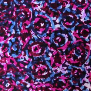 ポリエステル合繊生地(YEX261)花柄/ローズピンクxブルー 145cm巾 数量1(50cm)300円 国産|sarasa-nuno