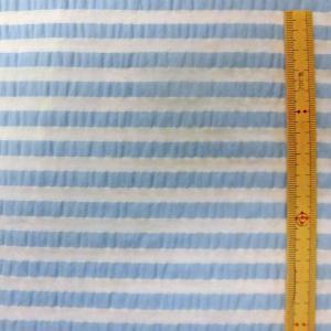 綿テンセル混生地(ソフィスタ配合) ふくれボーダー柄/サックス|sarasa-nuno