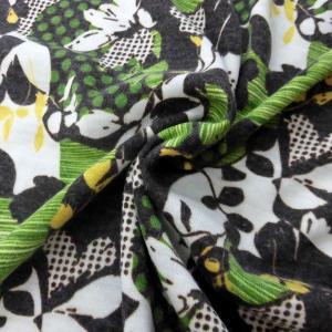 A/Wファンシーニット(GM50049)花柄/グリーン系 150cm巾 50cm(数量1)400円 国産|sarasa-nuno