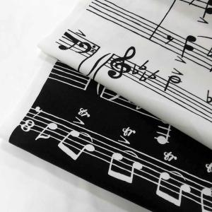 綿オックスフォードPT生地(AP12807)音符柄(♪)  110cm巾 数量1(50cm)400円  国産(コスモテキスタイル生地) sarasa-nuno