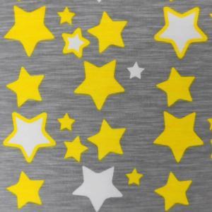 綿30/天竺ニット(D-014) キッズ/星柄プリント グレー 生地巾160cm  数量1(50cm)290円 国産 sarasa-nuno