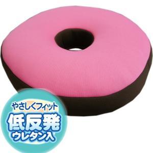 35Rx5cm 「コメット」ピンク色 通気性のいいメッシュ生地の低反発ドーナツ円座クッション