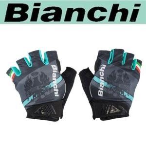 Bianchi ビアンキ サマーグローブ イーグル -4℃/ ブラックX チェレステ/ サイクルウエア グローブ |XSサイズ|sas-ad