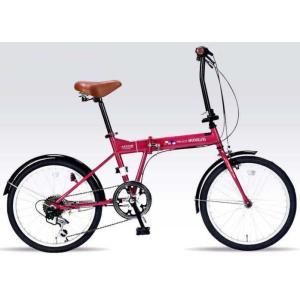 折り畳み自転車 20インチ6段変速付き折りたたみ自転車 マイパラスM-208  (ルージュ) (MYPALLAS M-208)|sas-ad|02