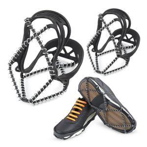 【専用ケース付】簡単装着! スプリングアイゼン 軽量アイスグリッパー 靴底スパイク スノーシュー 靴...