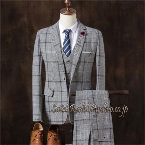 3ピーススーツ メンズ チェック柄 3点セット ビジネススーツ ベスト フォーマル パーティ 結婚式...
