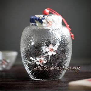 ガラス瓶 お茶葉 茶缶 茶筒 スナック 茶タンク 貯蔵茶タンク梱包密封缶 伝統工芸 保存瓶 キャニス...