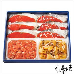 ■セット内容:甘塩紅鮭3枚、紅鮭さざ浪漬3枚、鮭ルイベ漬215g、ひとくち数の子松前200g  化粧...