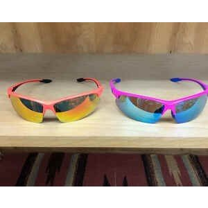 ランニング用サングラス UVカット 軽量フレーム ずれにくい プラスチック ソフトケース付き 蛍光ピンク オレンジ|satoh-sports