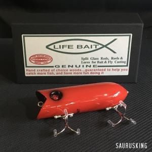 Lifebait ライフベイト ダーター Color:ソリッドレッド 86mm 20g ウッド製トップウォータープラグ バスルアー|saurusking