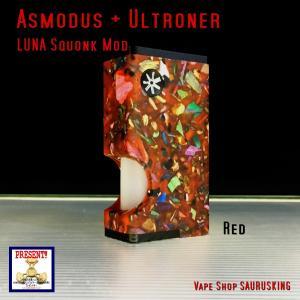 Asmodus + Ultroner LUNA Squonker Box Mod MOZAIC Edition Red / アスモダス ルナ スコンカー モザイク レッド*正規品*VAPE BOX MOD|saurusking