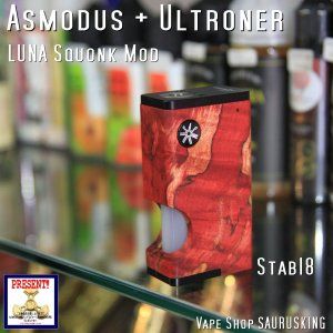 Asmodus + Ultroner LUNA Squonker Box Mod Stabilized wood 18 / アスモダス ルナ スコンカー スタビライズドウッド*正規品*VAPE BOX MOD|saurusking