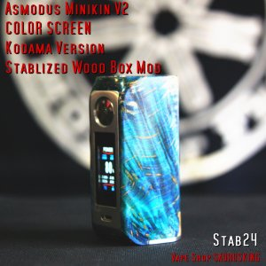 Asmodus Minikin V2 Kodama Version Stablized Wood Box Mod 24 / アスモダス ミニキン2 コダマ スタビライズドウッド*正規品*VAPE BOX MOD|saurusking